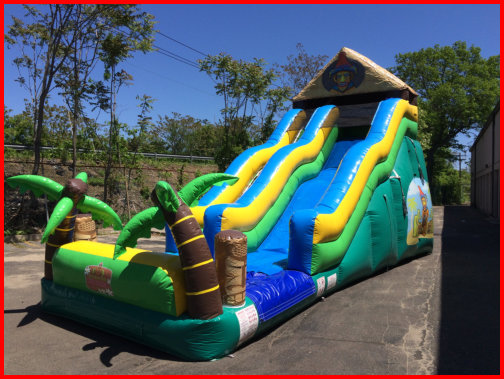 19 foot Tall Single Lane Water Slide TIKI ISLAND 2